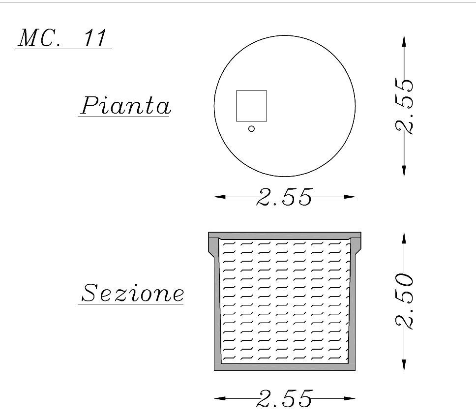 Misure vasca rettangolare in cemento 11 mc
