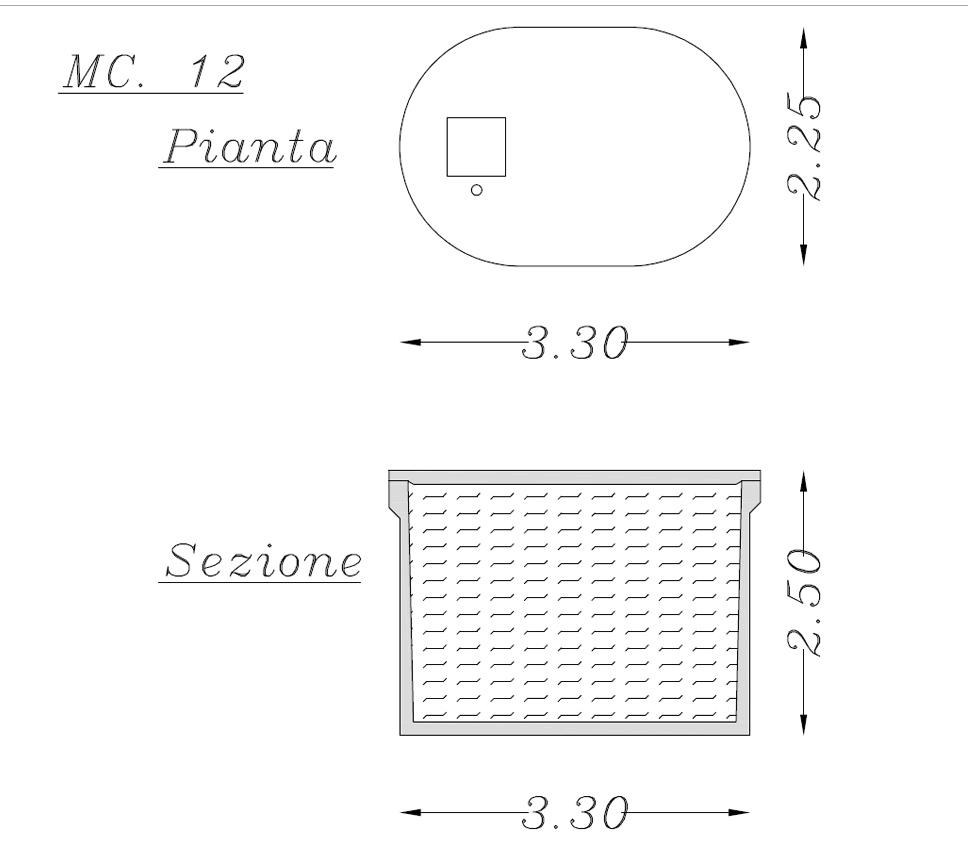 Misure vasca ellisoidale in cemento 12 mc