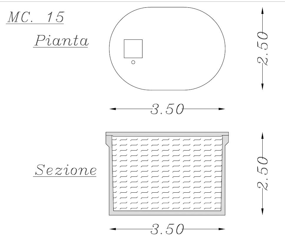 Misure vasca ellisoidale in cemento 15 mc